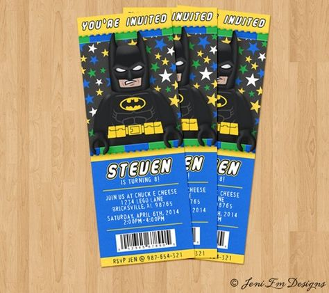 Batman Birthday Invitation Lego Batman Party Invite