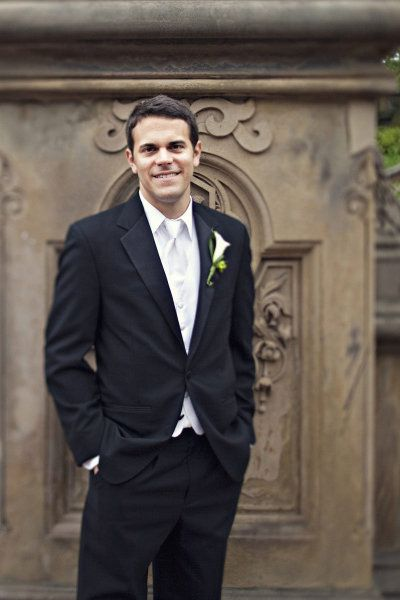 black tux, white/ivory tie and vest