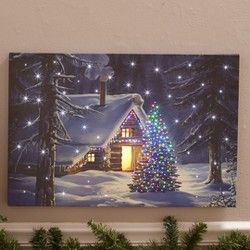 Lakeside Lighted Holiday Canvas Wall Art Christmas Decor With Fiber Optics Fireplace In 2020 Holiday Canvas Canvas Wall Art Lodge Style