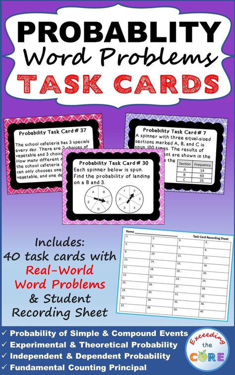 Probability Word Problems Task Cards 40 Cards Word Problems