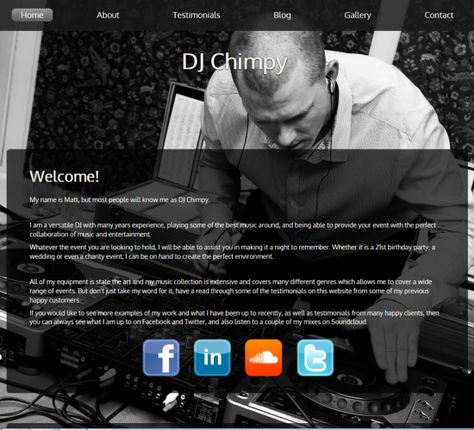 DJ Chimpy needed a website to show his customers what he can offer, so we provided him with one. Visit his website at www.djchimpy.co.uk