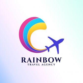 Plantilla De Logotipo De Agencia De Viajes De Arco Iris Icono De Avión Y Arco Iris Travel Agency Logo Travel Agency Airplane Icon