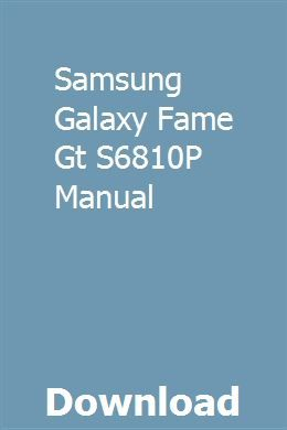 Samsung galaxy fame s6810 user manual guide | manual user pdf.