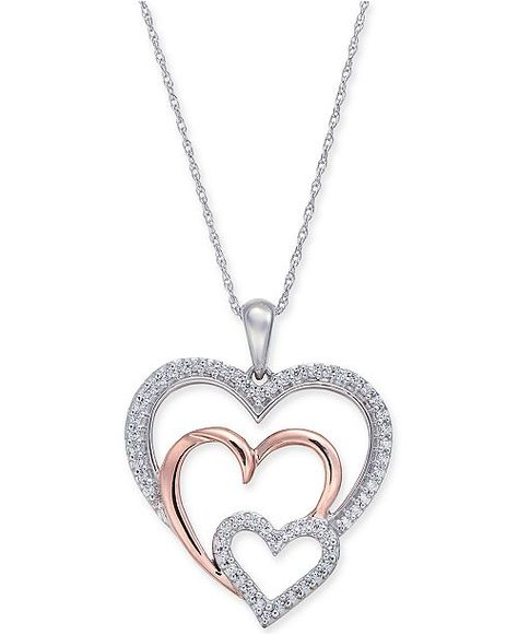 """Macy's Diamond Two-Tone Triple Heart 18"""" Pendant Necklace (1/4 ct. t.w.) in 14k White & Rose Gold & Reviews - Necklaces - Jewelry & Watches - Macy's"""