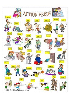 PICTURE DICTIONARY - ESL worksheets preschool Pinterest - action verbs resume