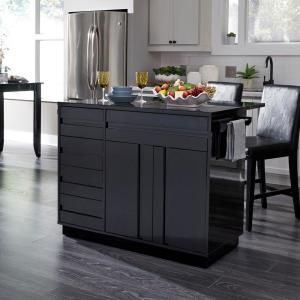 Design Element Medley White Kitchen Island With Slide Out Table Kd 01 W The Home Depot In 2021 Black Kitchen Island White Kitchen Island Grey Kitchen Island