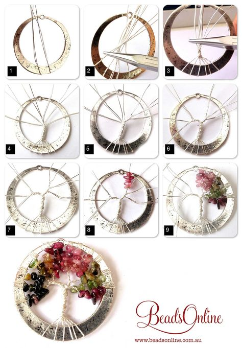 Tourmaline Tree of Life step-by-step - gnarlyhair Tourmaline Tree of Life step-by-step Schmuck im Wert von mindestens g e s c h… Looking for some DIY tree of life ideas? If you want to make art, crafts and even jewelries that are inspired with the tree Bijoux Wire Wrap, Wire Wrapped Jewelry, Wire Jewelry, Jewlery, Wire Earrings, Silver Jewelry, Bead Jewellery, Jewelry Armoire, Wire Crafts