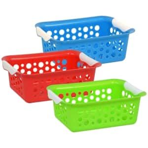 110547 Brightly Colored Plastic Slotted Baskets Plastic Baskets Storage Baskets Basket