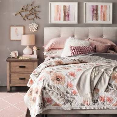 Blush Pink And Grey Bedroom