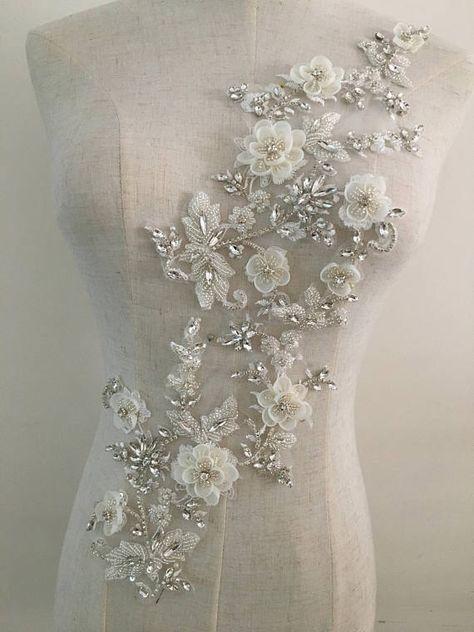 Encaje nupcial applique floral Corded boda adornos de Marfil