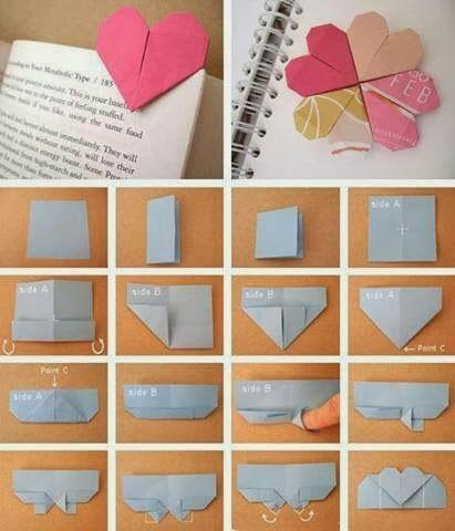 Marcapaginas En Forma De Corazon Con Origami Aprende Los Pasos Manualidades Hacer Separadores De Libros Manualidades Originales Para Regalar