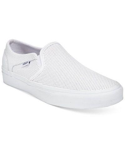 white slip on vans macy's