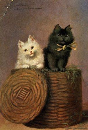 Sophie Sperlich S Cat Duo Vintage Postcard Alfred Stiebel 1124 5 Dessin Peinture Chat