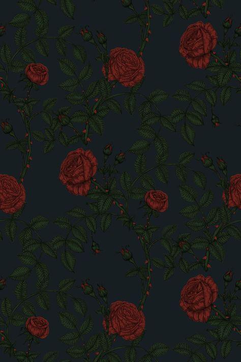 mcgegan rose wallpaper - red and green on black / color sample