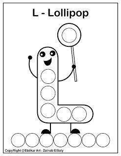 Set Of Abc Dot Marker Coloring Pages Letter L For Lollipop Abc