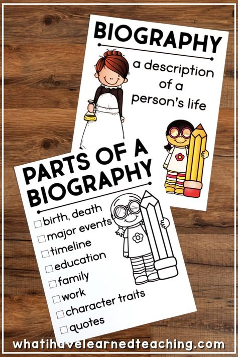 Research Report for Any Person This Biography Report that can be used for any historical person. It is great for a social studies biography unit or reading informational writing and research unit. It includes five different report options, lap book, in Writing A Biography, Biography Project, 5th Grade Writing, Artist Biography, Book Report Projects, Book Projects, Kk Project, Book Report Templates, Writing