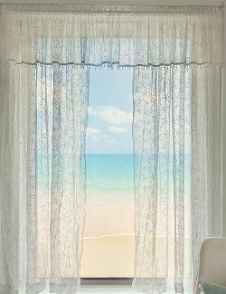 Beach Cottage Shell Trim Sheer Curtain Panels With Images