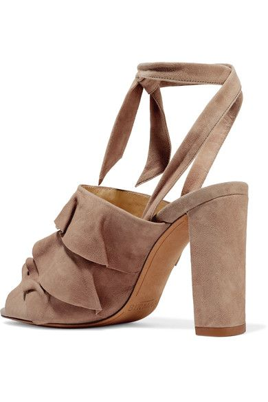 Alexandre Birman - Barbara Ruffled Suede Sandals - Mushroom - IT