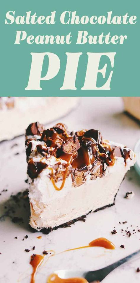 No Bake Salted Chocolate Peanut Butter Pie - Grilled Cheese Social