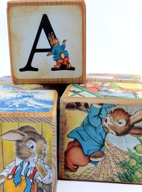 Peter Rabbit Wooden Name Blocks Beatrix Potter Birthday
