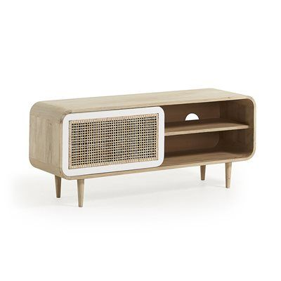 Gerald Mango Wood Tv Stand With Sliding Door With Images Kave