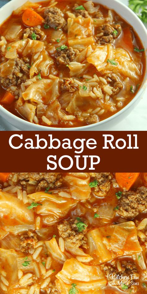Cabbage Roll Soup Recipe - Kitchen Fun With My 3 Sons
