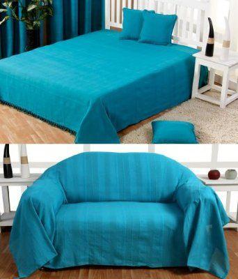 Homescapes Jete De Lit Ou Jete De Canape Turquoise 230 X 260 Cm Collection Rajput 100 Coton Canape Turquoise Jete De Canape Et Jete De Lit