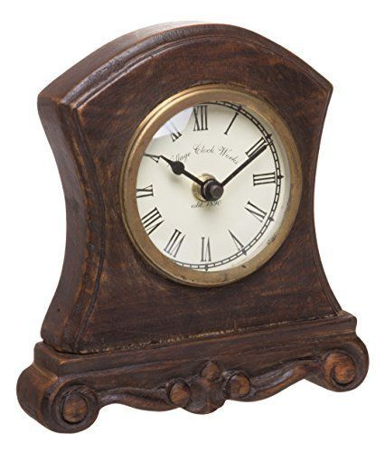 Red Co Antique Inspired Wooden Table Top Analog Clock Mantelpiece Small 6 Inch Antique Inspiration Wooden Table Top Clock
