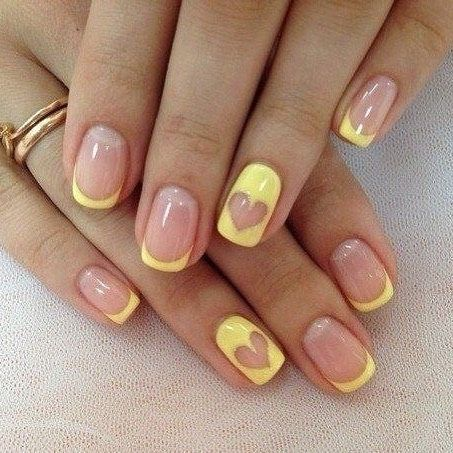 100 Must Try Nail Designs For Short Nails 2019 Summer Heart Nail Designs Yellow Nail Art Heart Nails