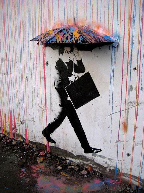 Color Rain Banksy Graffiti Spray Painting Stenciling Technique Canvas Print Giclée Gallery Wrap Art