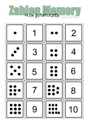 Zahlenmemory Bis 10 Selber Basteln Zum Ausdrucken Zahlen