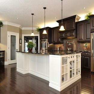 Dark Cab, White Island, Floors, Pendents. Dark Wood Kitchen CabinetsDark ...