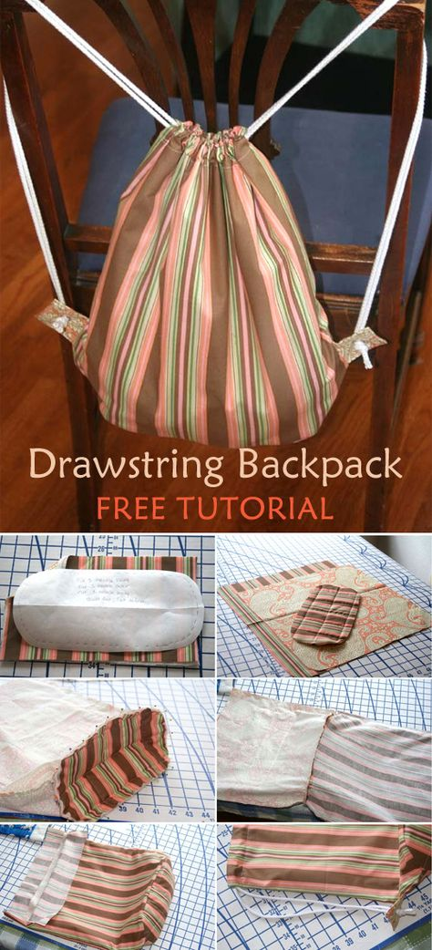 Ideas For Diy Bag Backpack Free Pattern Drawstring Backpack Tutorial, Drawstring Bag Tutorials, Drawstring Bags, Drawstring Bag Pattern, Diy Bags Purses, Diy Purse, Diy Rucksack, Backpack Pattern, Tote Pattern
