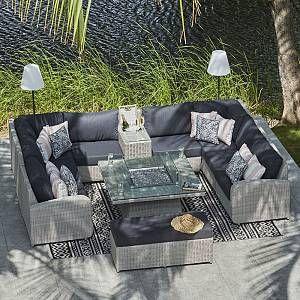 Moda Furnishings U Shape Sofa With Drinks Cooler Gas Firepit Benches U Shaped Sofa Fire Pit Table Sectional Sofa Decor