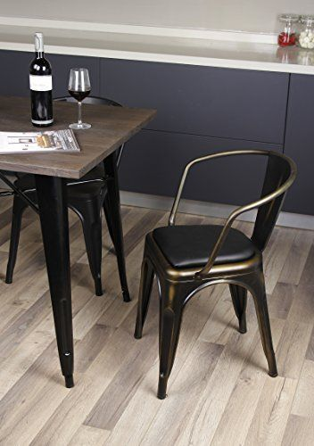 Gia Metal Dining Chairs With Back Leather Cushion Seat Antique