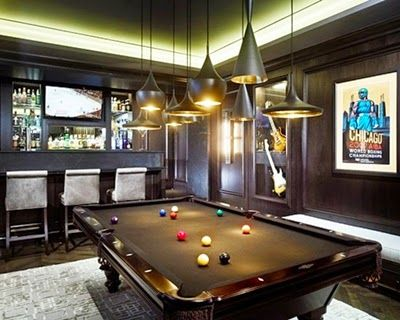 Glamorous Bar Room With Pool Table And Pendant Lamp Design Ideas