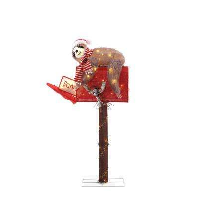 48 In 70 Light Led Tinsel Sloth And Mail Box Christmas Yard