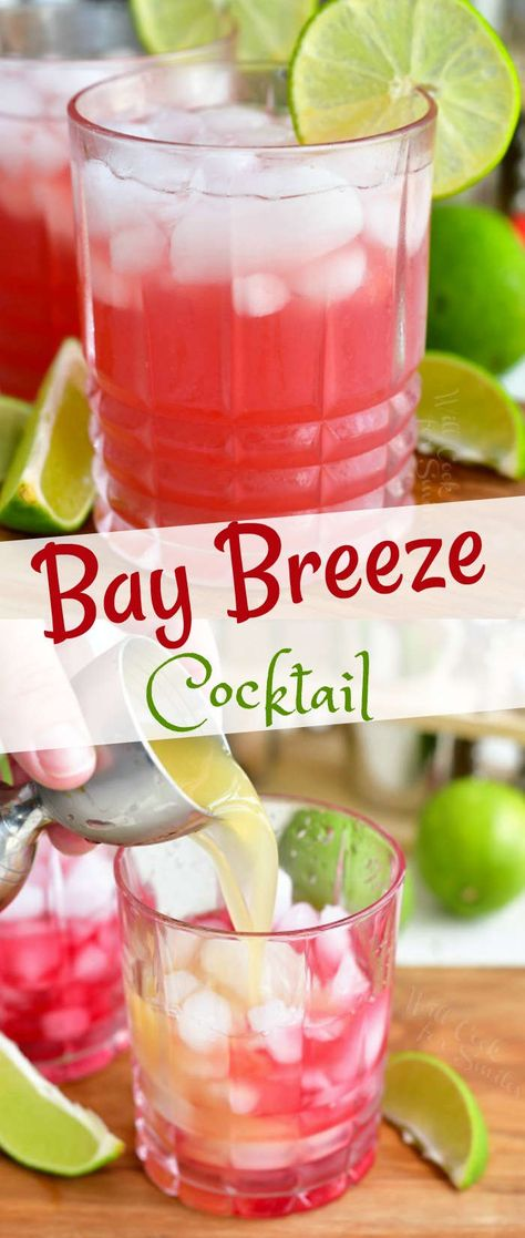 Bay Breeze is a beautiful tropical cocktail that has only 3 ingredients. Choose your favorite liquor option out of the three and add cranberry juice and pineapple juice. Tropical Alcoholic Drinks, Alcoholic Drinks Vodka, Vodka Mixed Drinks, Tropical Drink Recipes, Juice Drinks, Drinks With Rum, Easy Vodka Drinks, Drinks With Cranberry Juice, Cranberry Juice And Vodka