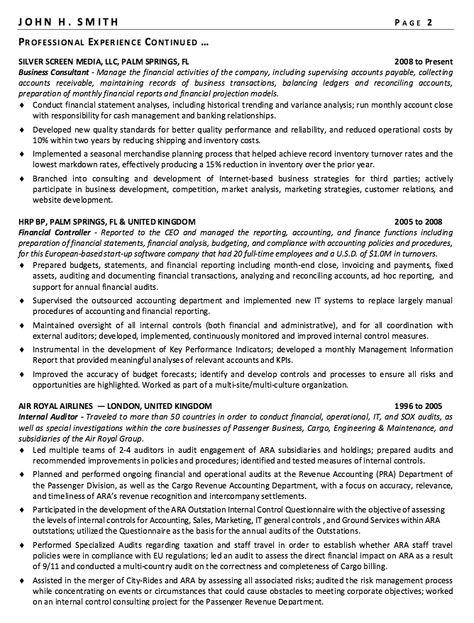 Financial Controller Resume Sample -    resumesdesign - senior auditor resume