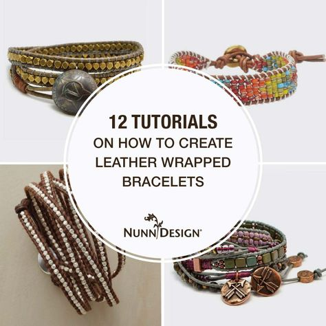 12 Tutorials on How to Create Leather Wrapped Bracelets – Nunn Design - jewelry diy bracelets Leather Bracelet Tutorial, Leather Cord Bracelets, Leather Tutorial, Bracelet Wrap, Beaded Wrap Bracelets, Beaded Bracelets Tutorial, Beaded Jewelry, Jewelry Bracelets, Jewelry Crafts