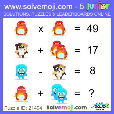 Emoji math puzzles, great for a math starter in primary
