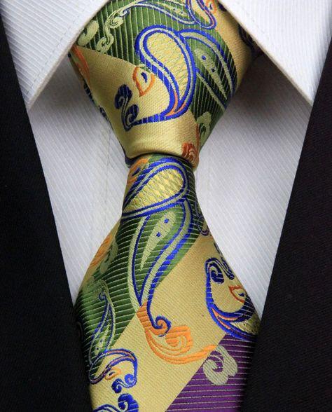 40afad5fb6b0 AS0394 Curry Royal Paisley Classic Elegant Woven 100%Silk Men's Tie Necktie