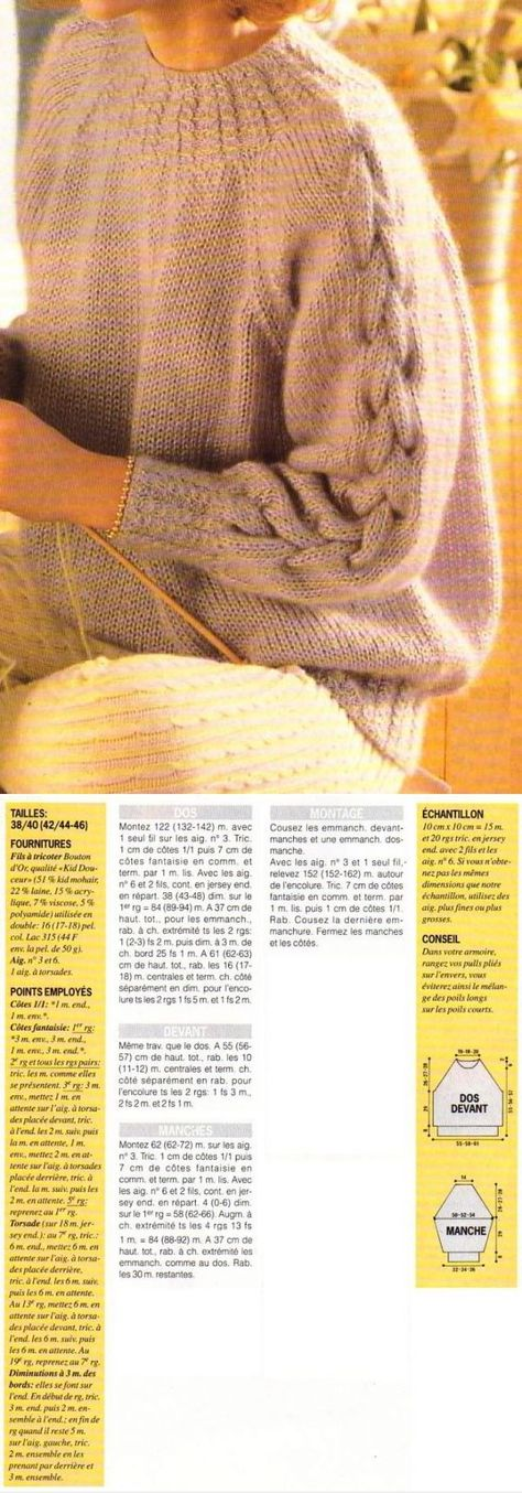 A tiny but transforming detail: the tiny cables in substitution for ribbing. Also, the braid cable on the raglan sleeves is stocking stitch on stocking stitch, not offset by purls. ~~ [Tricot] Le sweat en mohair - La Boutique du Tricot et des Loisirs Créatifs