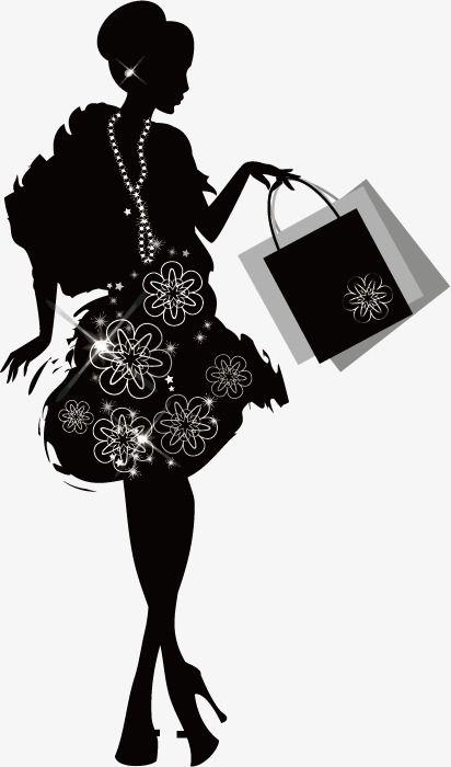 De Compras Moda Mujer Silueta Shopping Mujer Promociones Png Y