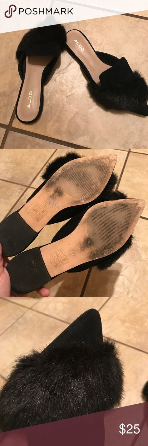 e33ba107339 Aldo faux fur mules-black 🐾 Like new flats! No flaws just some wear on  bottom of shoes. Size 7. True to size. Aldo Shoes Mules   Clogs