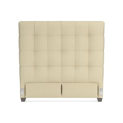Gable 60 Headboard Only Queen Faux Suede Champagne Grey Leg