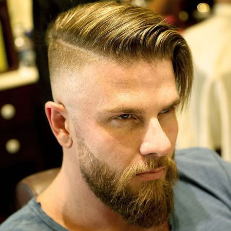 Comb Over + Shaved Sides + Beard
