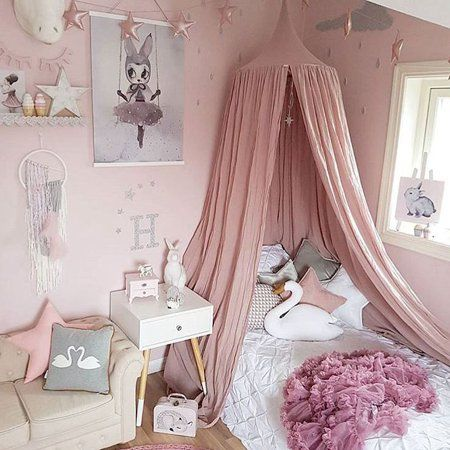 Pink Bed Canopy Hanging Tents Mosquito Net Netting Curtains for Kids Children Room Decoration Princess Baby Bed Canopy Crib Tent with stars decoration