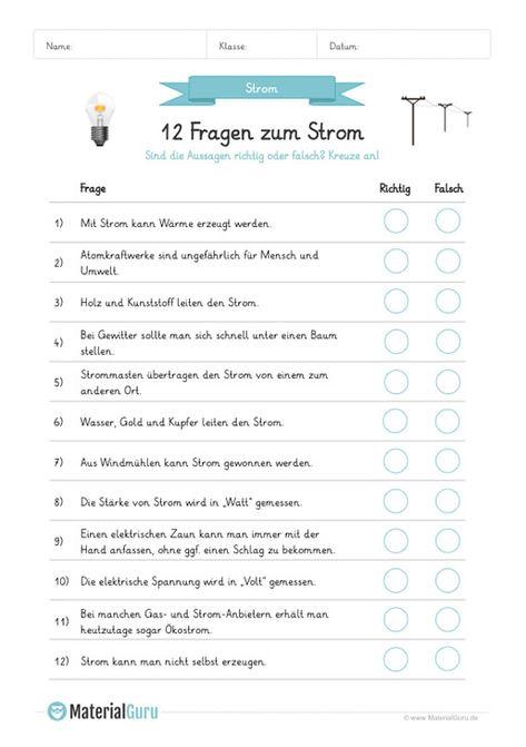 Arbeitsblatt 12 Fragen Zum Strom Beantworten Richtig Oder