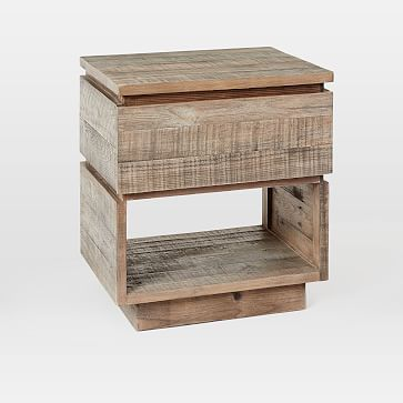 Emmerson Modern Reclaimed Wood Nightstand Stone Gray Reclaimed